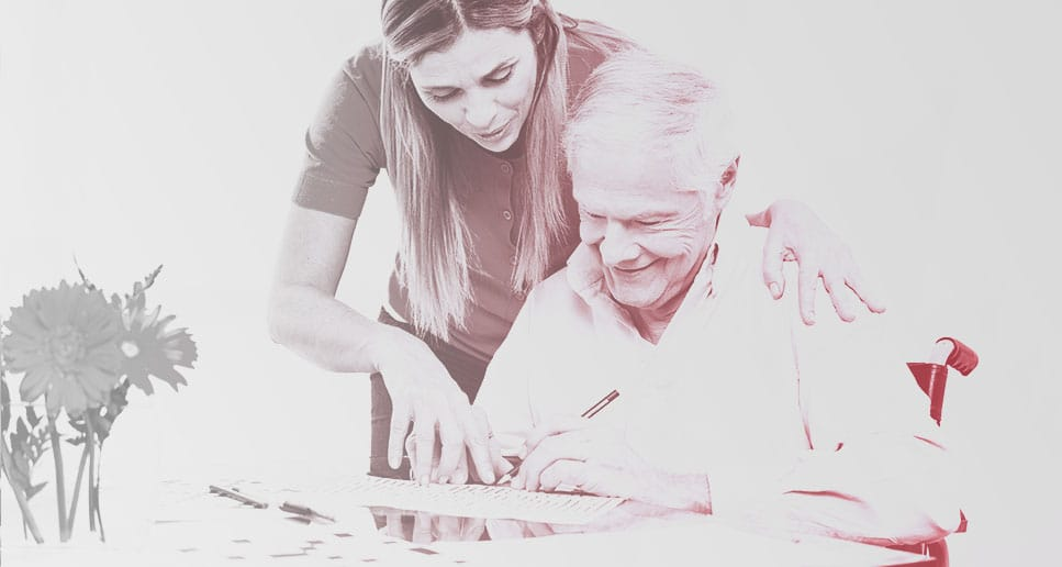 nurse helping man with dementia